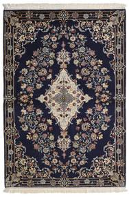 Isfahan Silk Warp Rug 112X160 Authentic Oriental Handknotted Dark Purple/Light Grey/Dark Grey (Wool/Silk, Persia/Iran)
