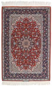 Isfahan Silk Warp Rug 110X165 Authentic  Oriental Handknotted Light Grey/Dark Red (Wool/Silk, Persia/Iran)
