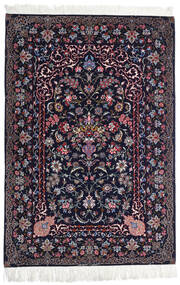 Isfahan Silk Warp Rug 110X160 Authentic Oriental Handknotted Black/Dark Purple (Wool/Silk, Persia/Iran)