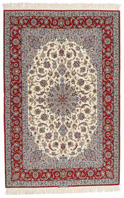 Isfahan Silk Warp Signed Entashari Rug 161X241 Authentic  Oriental Handknotted Beige/Light Grey/Dark Brown (Wool/Silk, Persia/Iran)