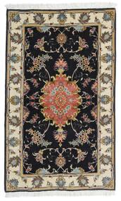 Tabriz 60 Raj Silk Warp Rug 73X120 Authentic  Oriental Handknotted Black/Dark Beige (Wool/Silk, Persia/Iran)