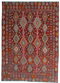 Kilim Afghan Old Style Rug 208X280 Authentic Oriental Handwoven Dark Red/Light Grey (Wool, Afghanistan)
