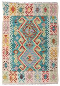 Kilim Afghan Old Style Rug 85X121 Authentic  Oriental Handwoven Light Grey/Turquoise Blue (Wool, Afghanistan)
