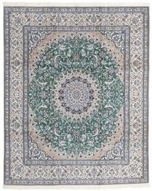 Nain 9La Rug 246X300 Authentic  Oriental Handknotted Light Grey/Turquoise Blue (Wool/Silk, Persia/Iran)