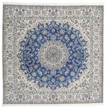 Nain 9La Rug 245X253 Authentic Oriental Handknotted Square Light Grey/Beige (Wool/Silk, Persia/Iran)