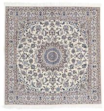 Nain 9La Rug 160X163 Authentic Oriental Handknotted Square Light Grey/White/Creme (Wool/Silk, Persia/Iran)