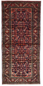 Hamadan Rug 101X220 Authentic Oriental Handknotted Dark Red/Dark Grey (Wool, Persia/Iran)