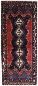 Afshar Rug 96X230 Authentic  Oriental Handknotted Hallway Runner  Dark Blue/Dark Brown (Wool, Persia/Iran)