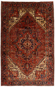 Heriz Rug 258X397 Authentic Oriental Handknotted Dark Brown/Dark Red Large (Wool, Persia/Iran)