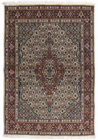 Moud Rug 98X143 Authentic  Oriental Handknotted Light Grey/Black (Wool/Silk, Persia/Iran)