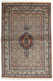 Moud Rug 100X147 Authentic Oriental Handknotted Dark Brown/Light Grey (Wool/Silk, Persia/Iran)