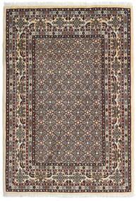 Moud Rug 100X146 Authentic  Oriental Handknotted Dark Brown/Beige (Wool/Silk, Persia/Iran)