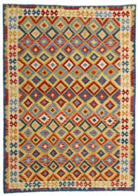 Kilim Afghan Old Style Rug 209X292 Authentic  Oriental Handwoven Light Brown/Dark Grey (Wool, Afghanistan)