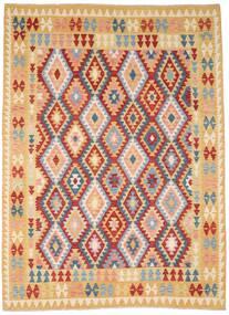 Kilim Afghan Old Style Rug 212X287 Authentic  Oriental Handwoven Dark Beige/Dark Red (Wool, Afghanistan)