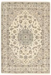 Nain 9La Rug 146X209 Authentic  Oriental Handknotted Beige/Light Grey (Wool/Silk, Persia/Iran)