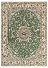 Nain 9La Rug 149X207 Authentic  Oriental Handknotted Olive Green/Light Grey/Beige (Wool/Silk, Persia/Iran)