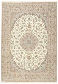Isfahan Silk Warp Rug 255X366 Authentic  Oriental Handknotted Beige/Light Grey Large (Wool/Silk, Persia/Iran)