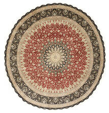 Qum Silk Rug Ø 203 Authentic Oriental Handknotted Round Light Brown/Dark Beige (Silk, Persia/Iran)