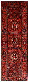 Hamadan Rug 104X315 Authentic  Oriental Handknotted Hallway Runner  Dark Red/Rust Red (Wool, Persia/Iran)