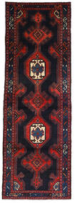 Hamadan Rug 103X298 Authentic  Oriental Handknotted Hallway Runner  Dark Grey/Dark Red (Wool, Persia/Iran)