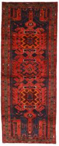 Hamadan Rug 112X289 Authentic  Oriental Handknotted Hallway Runner  Dark Red/Dark Brown (Wool, Persia/Iran)