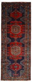 Hamadan Rug 106X275 Authentic  Oriental Handknotted Hallway Runner  Black/Dark Red (Wool, Persia/Iran)