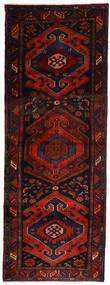 Hamadan Rug 106X305 Authentic  Oriental Handknotted Hallway Runner  Dark Red/Rust Red (Wool, Persia/Iran)