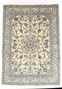 Nain Rug 147X210 Authentic  Oriental Handknotted Light Grey/Beige (Wool, Persia/Iran)