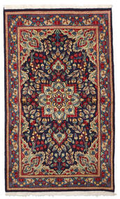 Kerman Rug 87X145 Authentic  Oriental Handknotted Dark Purple/Dark Red (Wool, Persia/Iran)