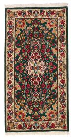 Kerman Rug 58X117 Authentic Oriental Handknotted Dark Green/Dark Red (Wool, Persia/Iran)
