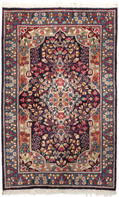 Kerman Rug 92X147 Authentic  Oriental Handknotted Dark Purple/Dark Red (Wool, Persia/Iran)