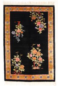 China Art Silk 120 Line Rug 122X183 Authentic Oriental Handknotted Black/White/Creme ( China)