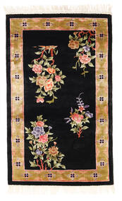 China Art Silk 120 Line Rug 91X152 Authentic Oriental Handknotted Black/Beige ( China)