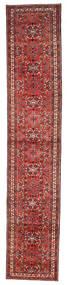 Hosseinabad Rug 80X403 Authentic  Oriental Handknotted Hallway Runner  Dark Red/Dark Brown (Wool, Persia/Iran)