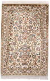 Kashmir Pure Silk Rug 64X97 Authentic  Oriental Handknotted Dark Brown/Beige (Silk, India)