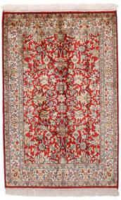 Kashmir Pure Silk Rug 65X99 Authentic  Oriental Handknotted Dark Red/Light Grey (Silk, India)