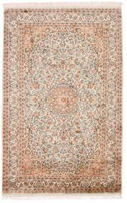 Kashmir Pure Silk Rug 98X152 Authentic Oriental Handknotted Beige/Dark Brown (Silk, India)