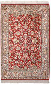 Kashmir Pure Silk Rug 66X99 Authentic  Oriental Handknotted Light Grey/Dark Red (Silk, India)
