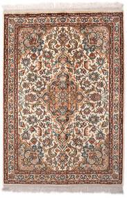 Kashmir Pure Silk Rug 65X94 Authentic  Oriental Handknotted Light Brown/Dark Brown (Silk, India)