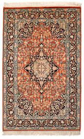 Kashmir Pure Silk Rug 63X100 Authentic Oriental Handknotted Beige/Dark Brown/Dark Red (Silk, India)