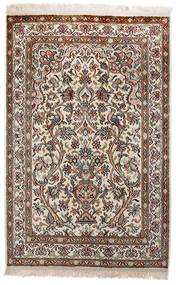 Kashmir Pure Silk Rug 62X97 Authentic Oriental Handknotted Light Grey/Brown (Silk, India)