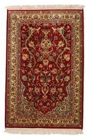 Kashmir Pure Silk Rug 62X95 Authentic Oriental Handknotted Dark Red/Dark Brown (Silk, India)