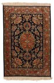 Kashmir Pure Silk Rug 63X93 Authentic  Oriental Handknotted Black/Dark Brown (Silk, India)