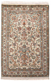 Kashmir Pure Silk Rug 64X96 Authentic Oriental Handknotted Light Grey/Beige (Silk, India)