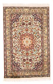 Kashmir Pure Silk Rug 58X90 Authentic  Oriental Handknotted Beige/Dark Brown (Silk, India)