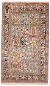 Kashmir Pure Silk Rug 95X160 Authentic  Oriental Handknotted Brown/Beige (Silk, India)