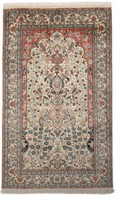 Kashmir Pure Silk Rug 94X153 Authentic  Oriental Handknotted Light Grey/Dark Grey (Silk, India)