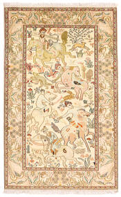 Kashmir Pure Silk Rug 94X152 Authentic  Oriental Handknotted Brown/Yellow (Silk, India)