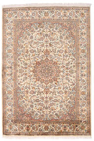 Kashmir Pure Silk Rug 126X185 Authentic  Oriental Handknotted Brown/Light Pink (Silk, India)
