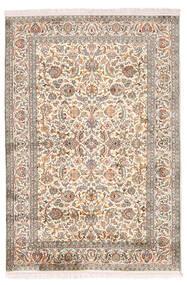 Kashmir Pure Silk Rug 126X184 Authentic  Oriental Handknotted Light Grey/Yellow (Silk, India)